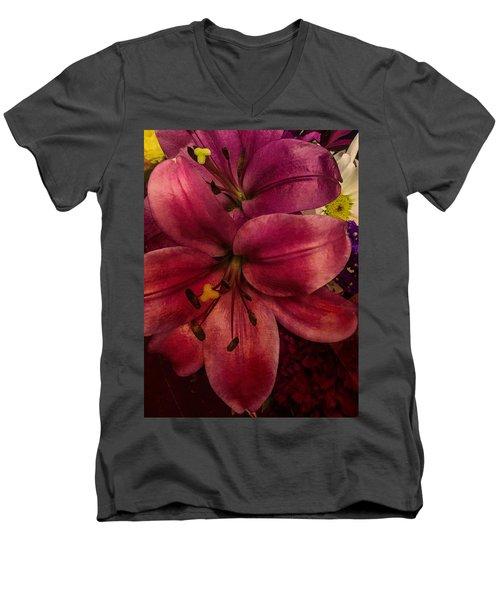 Marsala Lily Men's V-Neck T-Shirt