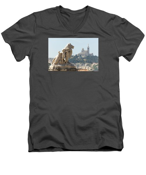 Marseille-saint-charles Statue, France Men's V-Neck T-Shirt