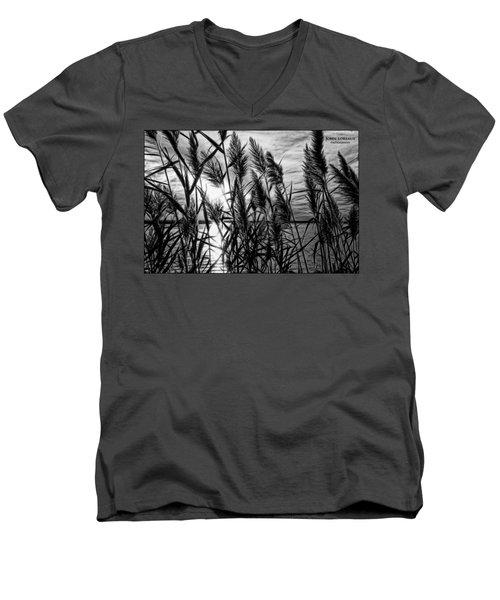 Marsh Grass Bw Men's V-Neck T-Shirt by John Loreaux