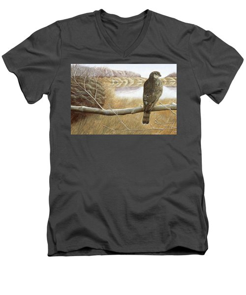 Men's V-Neck T-Shirt featuring the painting Marsh Hawk by Laurie Stewart