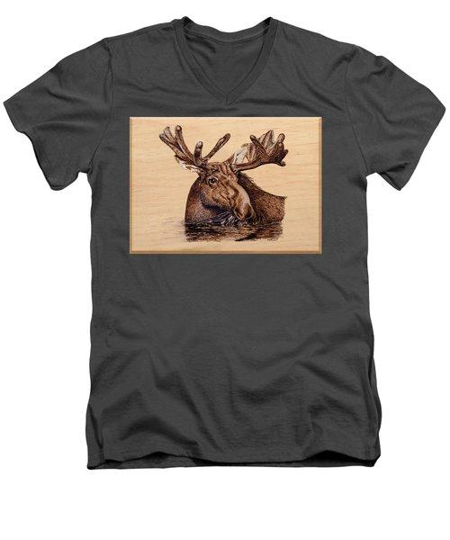 Marsh Moose Men's V-Neck T-Shirt by Ron Haist