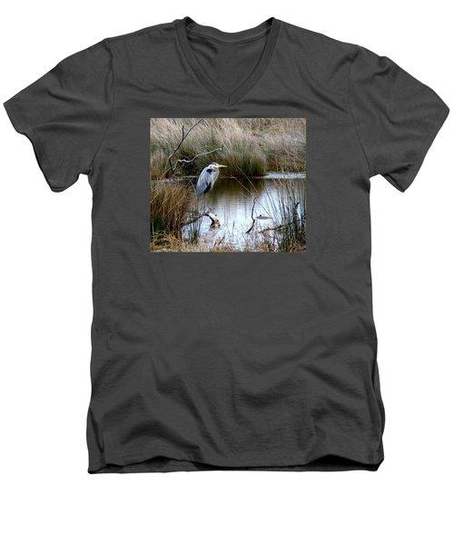 Marsh Pond Great Blue Heron Men's V-Neck T-Shirt by Phyllis Beiser