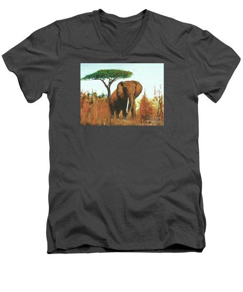 Marsha's Elephant Men's V-Neck T-Shirt by Donna Dixon