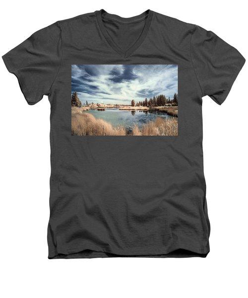Marshlands In Washington Men's V-Neck T-Shirt by Jon Glaser