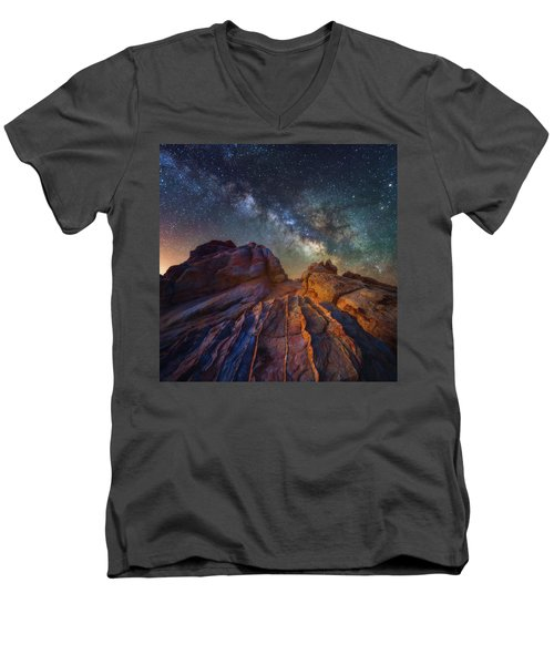 Men's V-Neck T-Shirt featuring the photograph Martian Landscape by Darren White