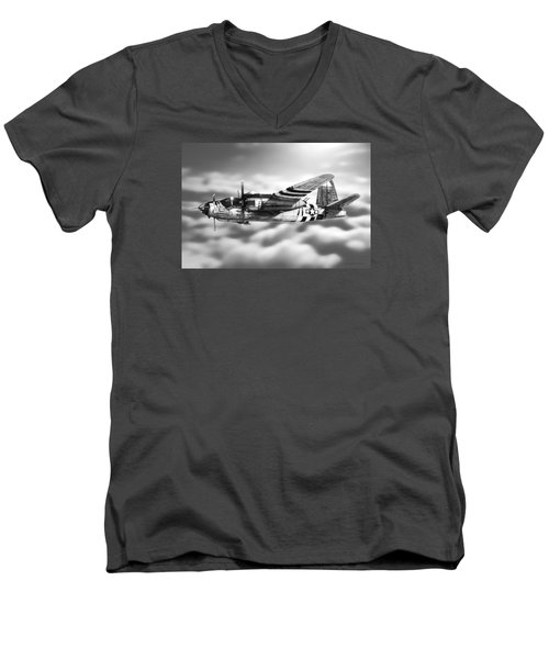 Martin B-26 Marauder Drawing Men's V-Neck T-Shirt by Douglas Castleman