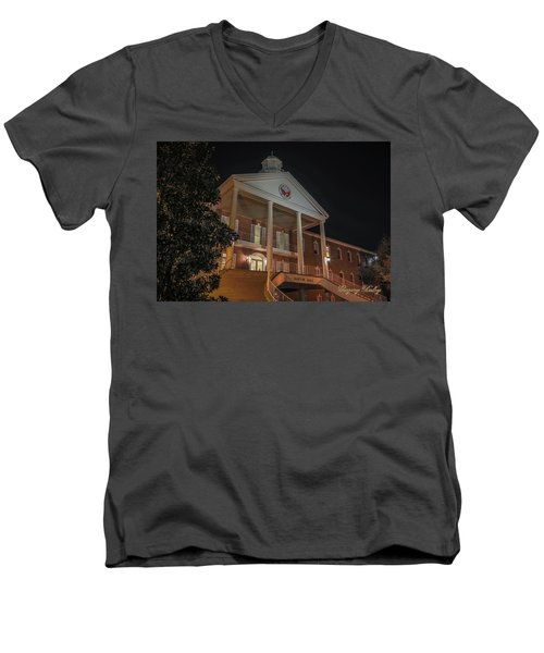 Men's V-Neck T-Shirt featuring the photograph Martin Hall Night 01 by Gregory Daley  PPSA