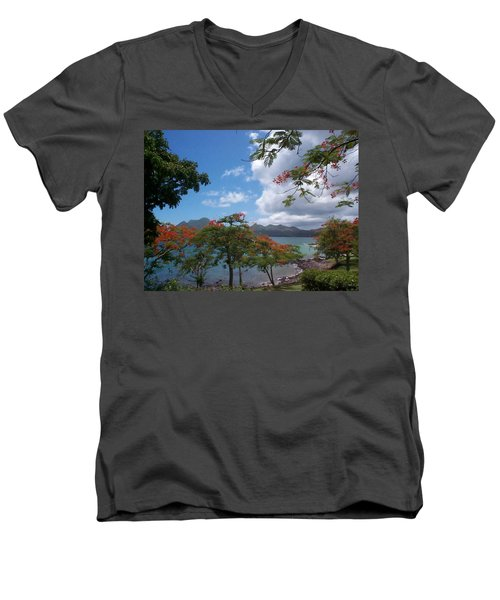 Men's V-Neck T-Shirt featuring the photograph Martinique by Mary-Lee Sanders