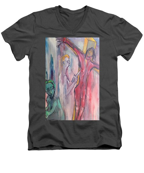 Men's V-Neck T-Shirt featuring the painting Martyrdom by Kenneth Agnello