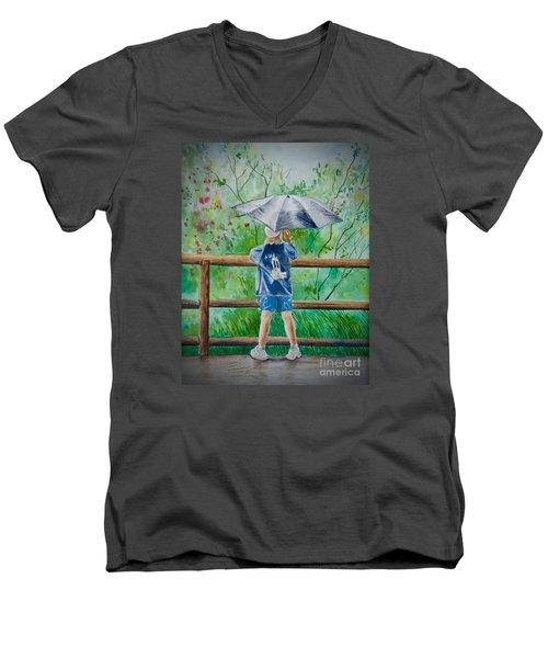 Marcus' Umbrella Men's V-Neck T-Shirt by AnnaJo Vahle