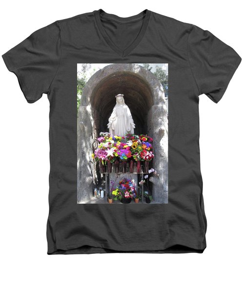 Mary At The Mission Men's V-Neck T-Shirt by Mary Ellen Frazee