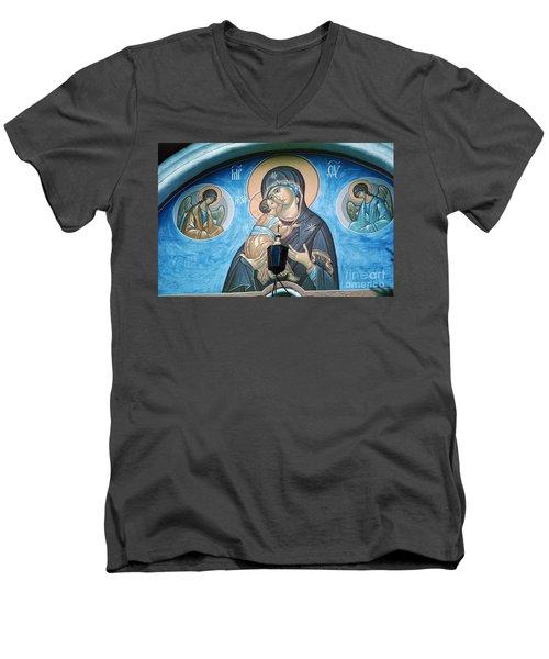 Mary Magdelena Jesus Christ Angels Trinity Lavra Men's V-Neck T-Shirt by Wernher Krutein
