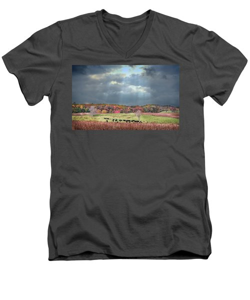 Maryland Farm With Autumn Colors And Approaching Storm Men's V-Neck T-Shirt