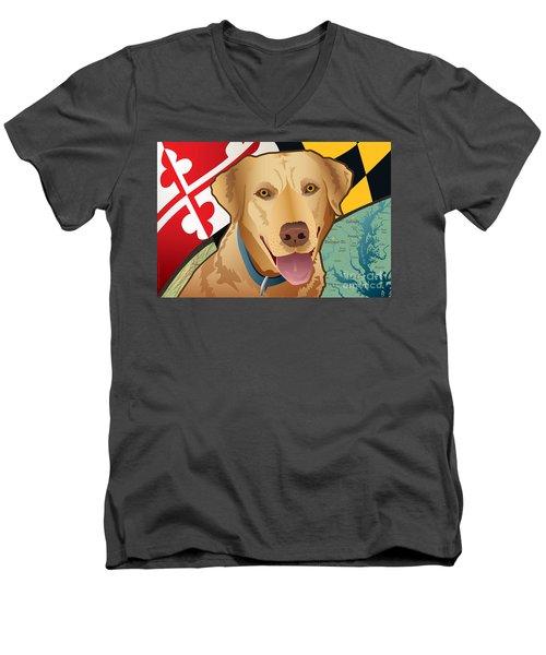 Maryland Yellow Lab Men's V-Neck T-Shirt