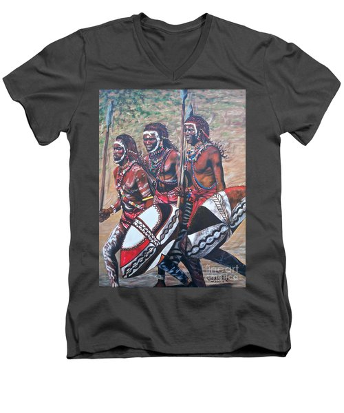 Men's V-Neck T-Shirt featuring the painting Masaai Warriors by Sigrid Tune
