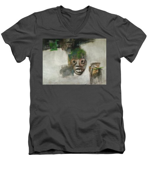Symbol Mask Painting - 06 Men's V-Neck T-Shirt by Behzad Sohrabi