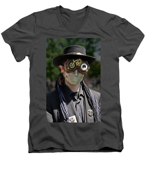 Masked Man - Steampunk Men's V-Neck T-Shirt by Betty Denise