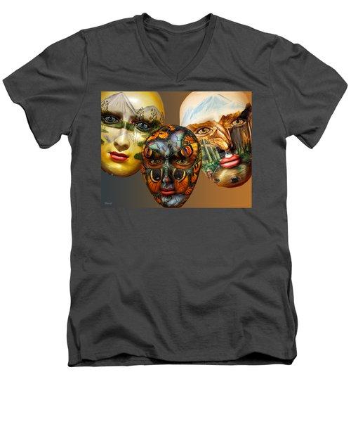Masks On The Wall Men's V-Neck T-Shirt