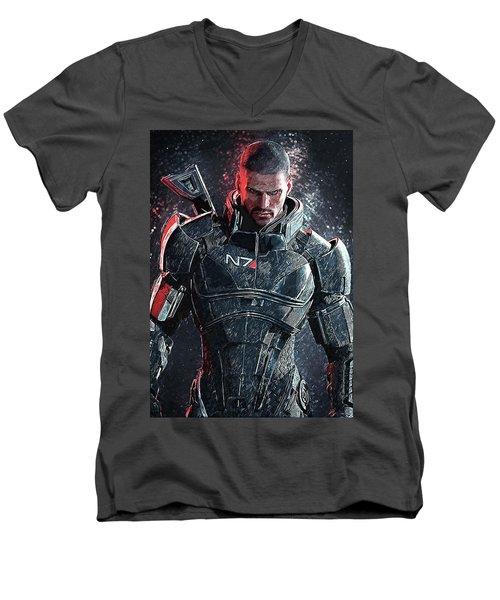 Men's V-Neck T-Shirt featuring the digital art Mass Effect by Taylan Apukovska