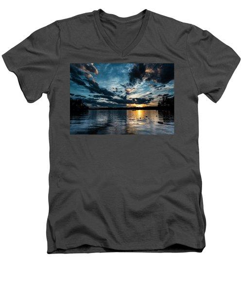 Masscupic Lake Sunset Men's V-Neck T-Shirt