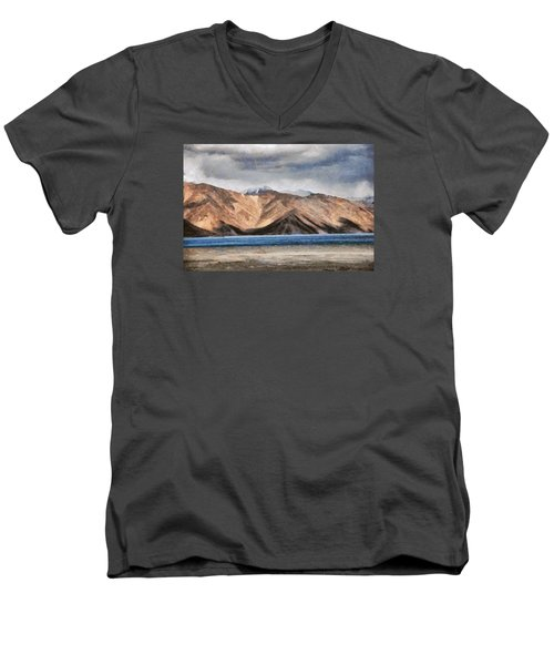 Massive Mountains And A Beautiful Lake Men's V-Neck T-Shirt by Ashish Agarwal