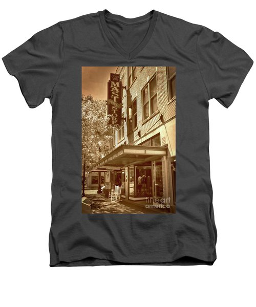 Men's V-Neck T-Shirt featuring the photograph Mast General Store by Skip Willits