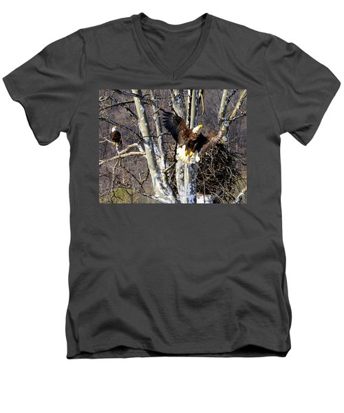 Men's V-Neck T-Shirt featuring the photograph Mating Pair At Nest by Randall Branham