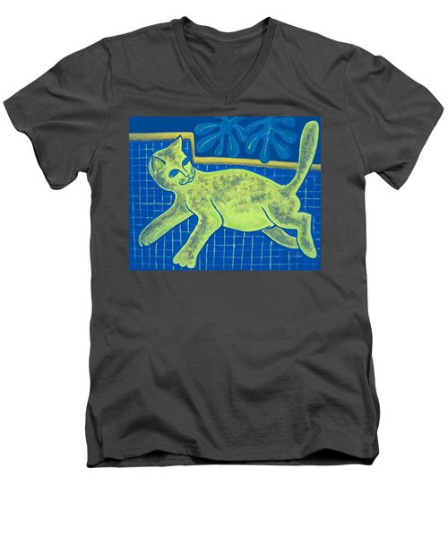 Matisse's Cat In Reverse Men's V-Neck T-Shirt by George I Perez