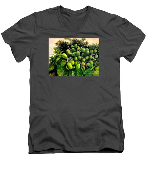 Men's V-Neck T-Shirt featuring the painting Matoa Fruit by Jason Sentuf