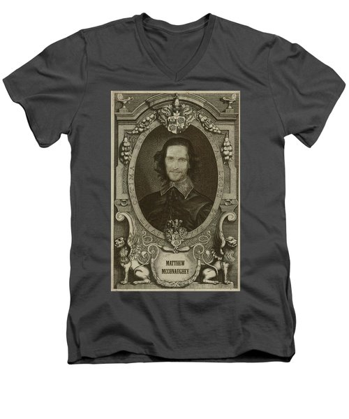 Matthew Mcconaughey   Men's V-Neck T-Shirt by Serge Averbukh