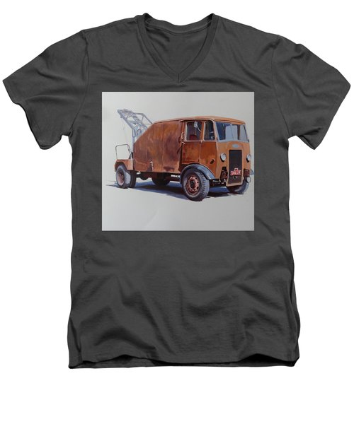 Men's V-Neck T-Shirt featuring the painting Maudslay Wrecker. by Mike  Jeffries