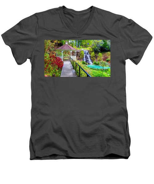 Maui Botanical Garden Men's V-Neck T-Shirt by Michael Rucker