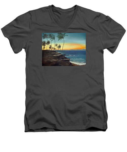 Men's V-Neck T-Shirt featuring the painting Maui by Carol Sweetwood