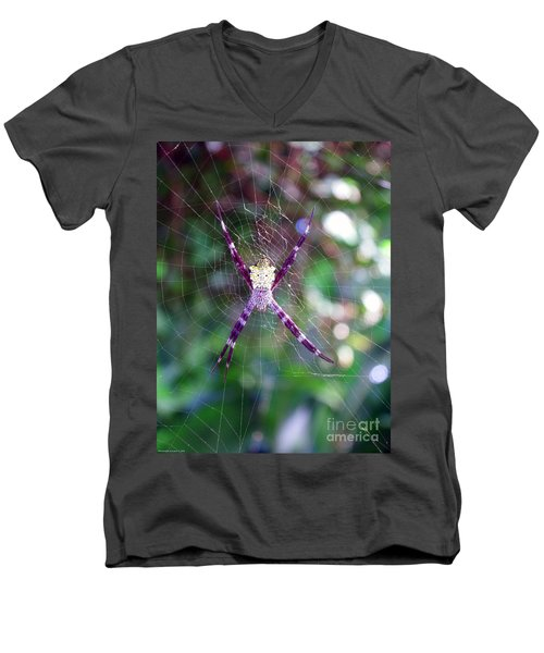 Men's V-Neck T-Shirt featuring the photograph Maui Orbweaver/garden Spider by Gena Weiser