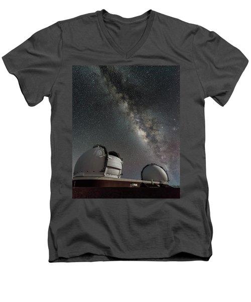 Mauna Kea Night Men's V-Neck T-Shirt by Allen Biedrzycki