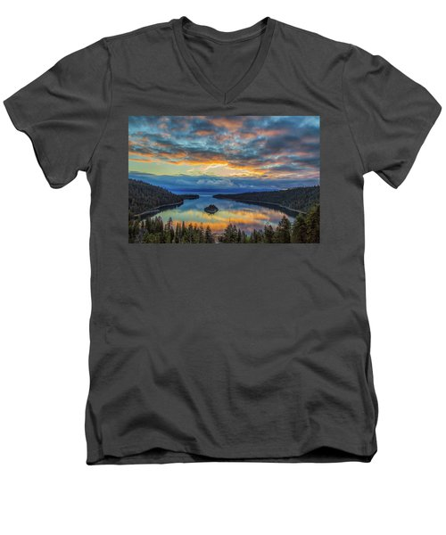 May Sunrise At Emerald Bay Men's V-Neck T-Shirt by Marc Crumpler