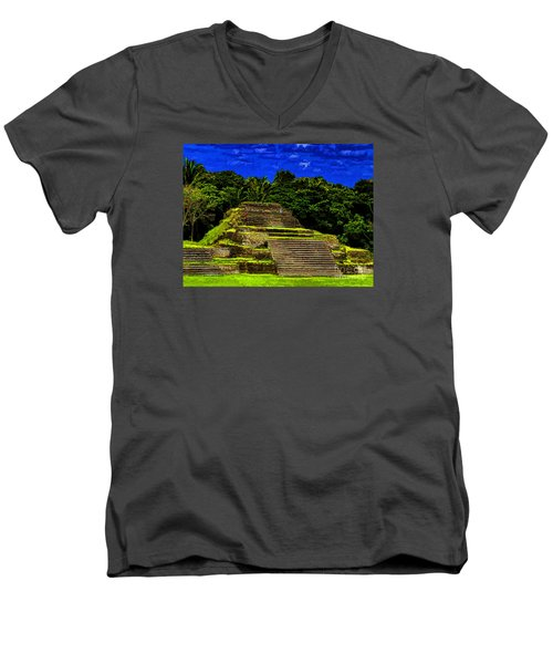 Mayan Temple Men's V-Neck T-Shirt by Ken Frischkorn