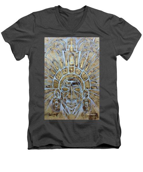 Men's V-Neck T-Shirt featuring the painting Mayan Warrior by J- J- Espinoza