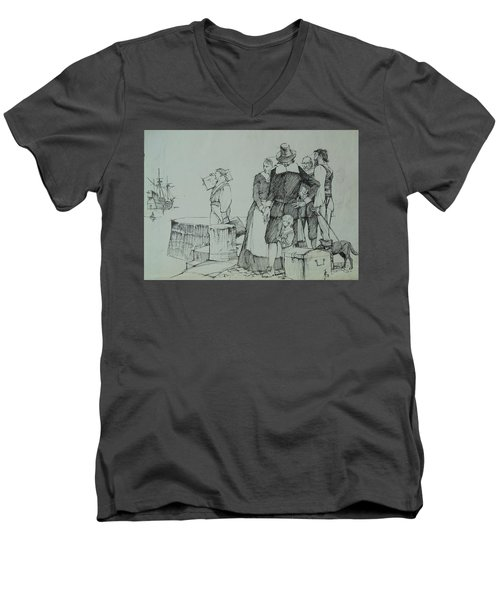 Men's V-Neck T-Shirt featuring the drawing Mayflower Departure. by Mike Jeffries