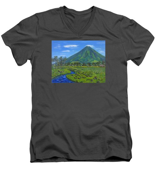 Mayon Volcano Men's V-Neck T-Shirt