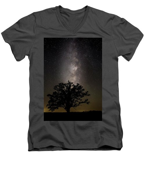 Mcbaine Bur Oak With Milky Way Men's V-Neck T-Shirt