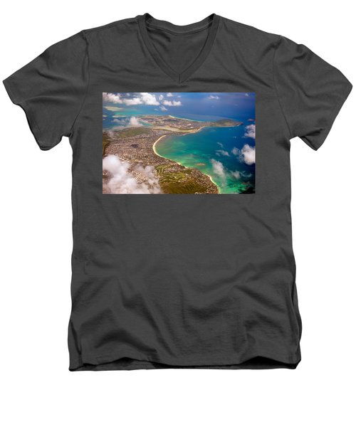 Men's V-Neck T-Shirt featuring the photograph Mcbh Aerial View by Dan McManus