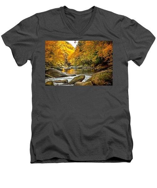 Mcconnell's Mill State Park Men's V-Neck T-Shirt by Skip Tribby