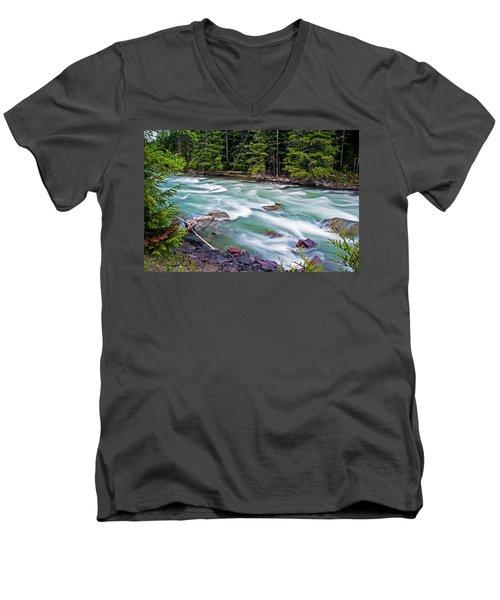 Men's V-Neck T-Shirt featuring the photograph Mcdonald Creek by Gary Lengyel