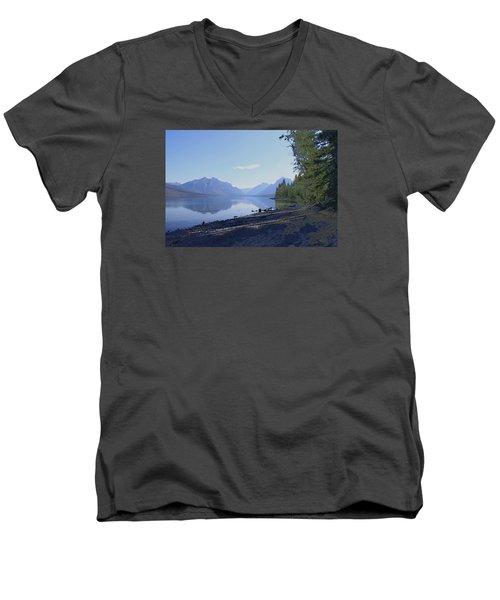 Men's V-Neck T-Shirt featuring the photograph Mcdonald Lake by Susan Crossman Buscho