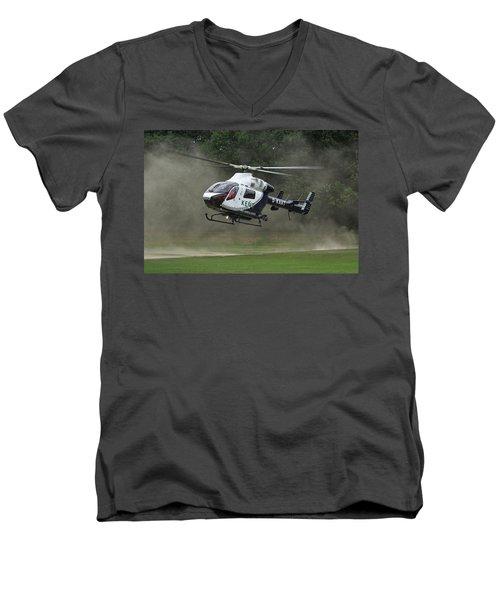 Men's V-Neck T-Shirt featuring the photograph Mcdonnell Douglas Md-902 Explorer  by Tim Beach