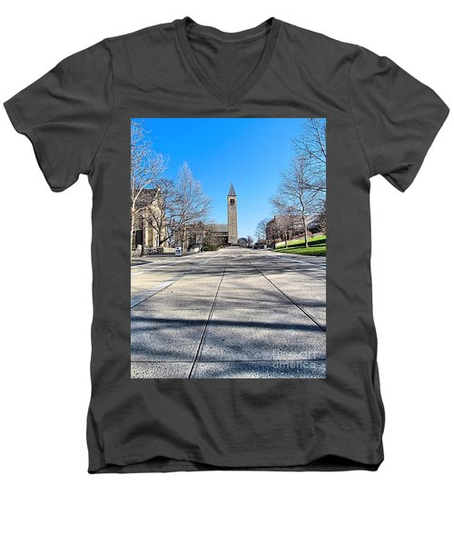 Mcgraw Tower  Men's V-Neck T-Shirt by Elizabeth Dow