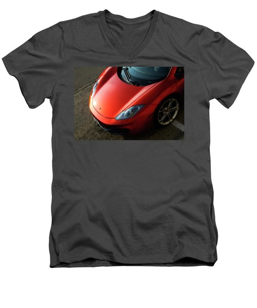 Men's V-Neck T-Shirt featuring the photograph Mclaren Hood by Joel Witmeyer