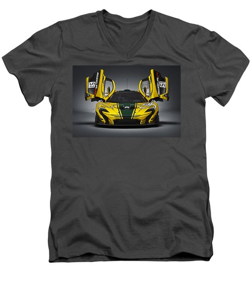 Mclaren P1 Gtr Men's V-Neck T-Shirt by Thomas M Pikolin