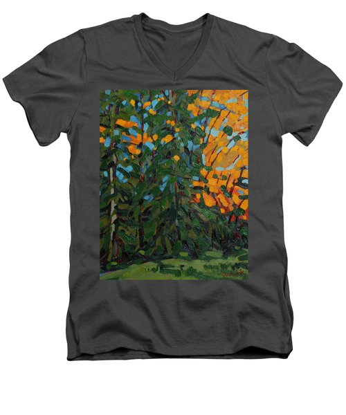 Mcmichael Forest Wall Men's V-Neck T-Shirt by Phil Chadwick